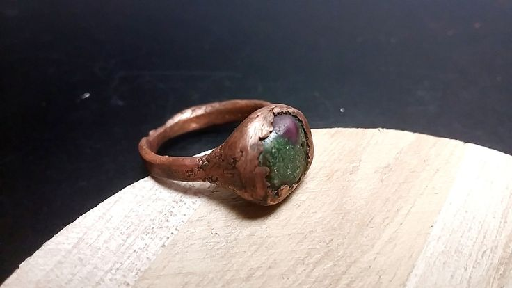 Copper Ring with Ruby in Zoisite Gemstone Copper Ring Electroformed Copper Ring with Green Gemstone Copper Jewelry with Ruby in Zoisite by mssdelilah on Etsy