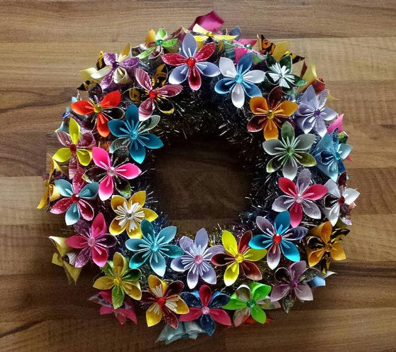 3d origami flower wreath with led lights 16 by