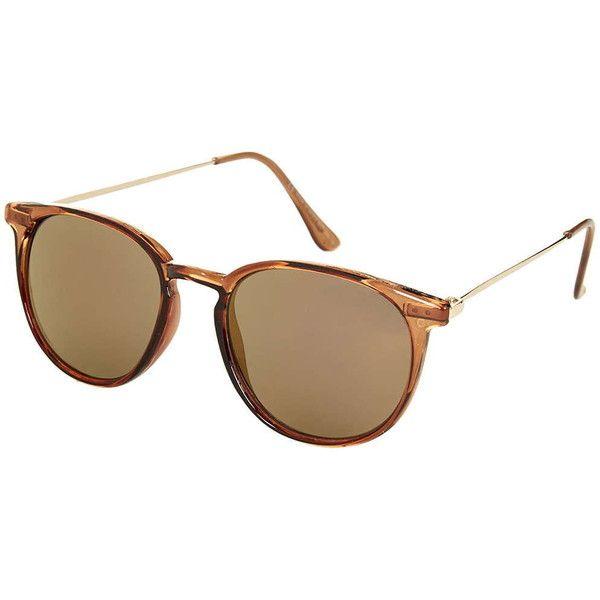 TOPSHOP Walt Sunglasses featuring polyvore, fashion, accessories, eyewear, sunglasses, glasses, coffee, round frame glasses, topshop, coffee glasses, topshop sunglasses and acrylic glasses