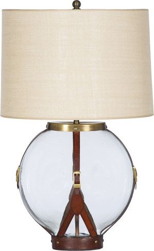 Leather and brass table lamp at www.darbyroad.com