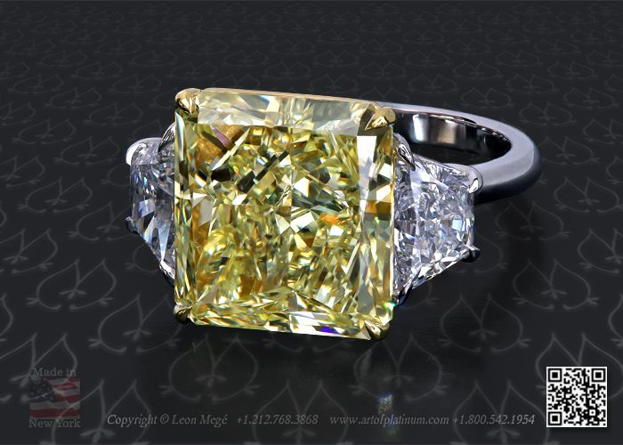 Three stone radiant cut engagement ring by Leon Mege