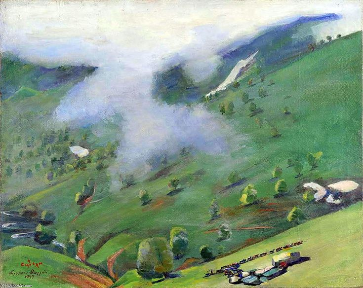 'View of the Gorge from the Pushkin Pass', Oil On Canvas by Martiros Saryan (1880-1972, Russia)