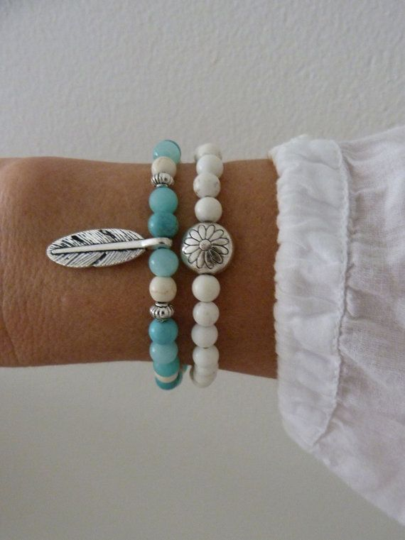 2 bohemian bracelets feather bracelet beach bracelet by beachcombershop on Etsy