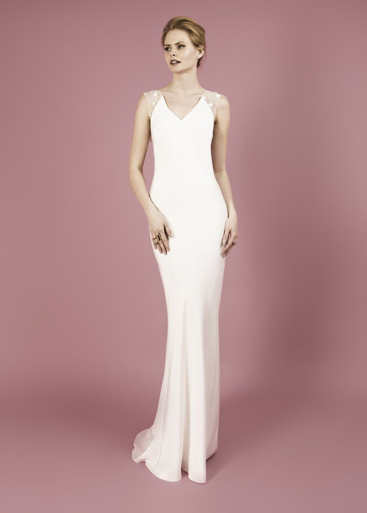Modern wedding dress for the contemporary bride. Bella dress. Bias cut silk morocain dress with 3d flower embroidery.