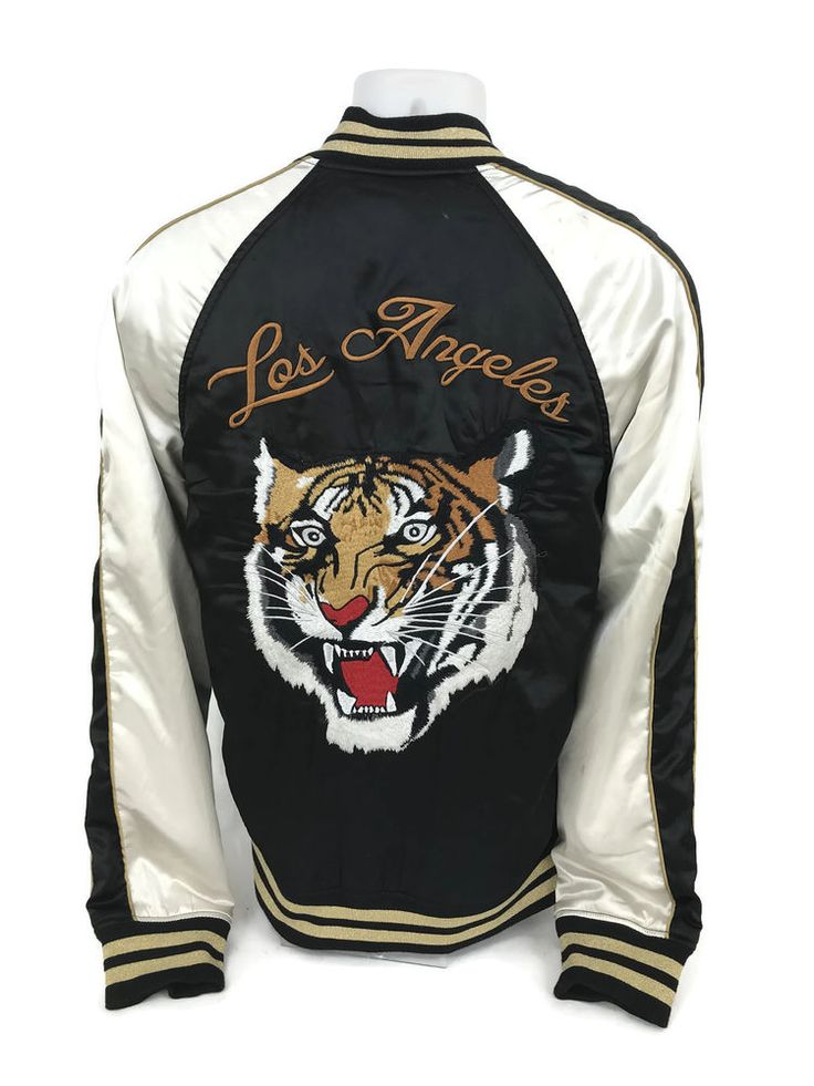 Pacsun Los Angeles Men's Embroidered Tiger Satin Retro Bomber Jacket Size Small #PACSUN #BasicJacket