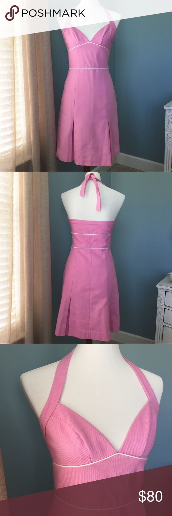 🔥Flash Sale🔥NWT Laundry by Shelli Segal Dress This is Summer🌺 Beautiful pink/off-white halter dress - gorgeous fabric - tailored for an amazing fit - pleats - zipper closure - fully lined- NWT Laundry by Shelli Segal Dresses