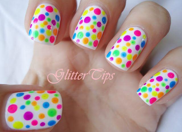 Neon Polka Dot Nails