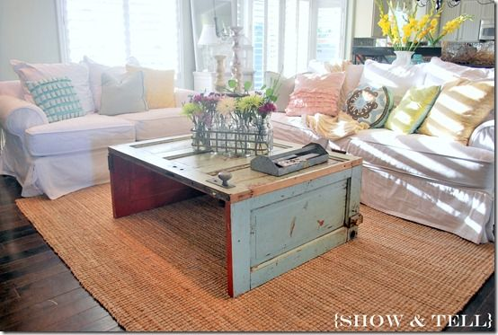 DIY Inspiration: This old door coffee table is one of the cutest ways I've seen to re-pupose! You can't tell from this photo, but if you make this fab table, be sure to put a solid support piece under the top running from side to side. Love this from Sweet Pickins!