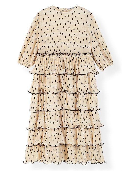 424dac1d2afb Pleated Georgette F3169 kjole Offwhite Ganni i 2019