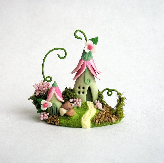 Miniature  Charming Fairy  Blossom Cottage with Garden Shed OOAK by C. Rohal