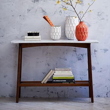 """Reeve Mid-Century Console #westelm - 46""""w x 14""""d x 32""""h. Marble top. Solid wood legs with Pecan finish. - reg. price $499 Special $399 Delivery Surcharge: $30"""