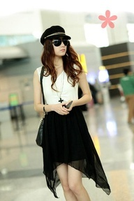 Black Asymmetric Sleeveless Korean Fashionable Dress