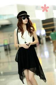 Black Asymmetric Sleeveless Korean Fashionable Dress