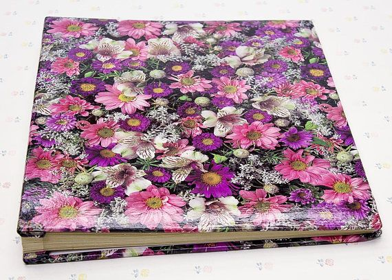 """A large 14"""" tall scrapbooking album with a lovely floral print on the front and back cover. The book is in very nice condition, showing very light surface wear. The pages inside are in pristine condition. ***** More gift ideas & curated gift sets:"""