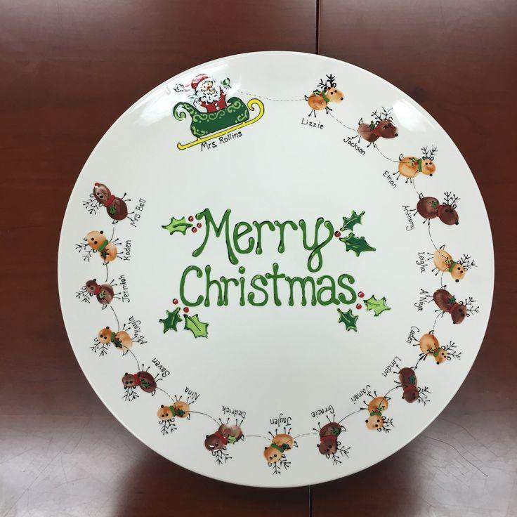 Christmas reindeer Santa finger print pottery ...