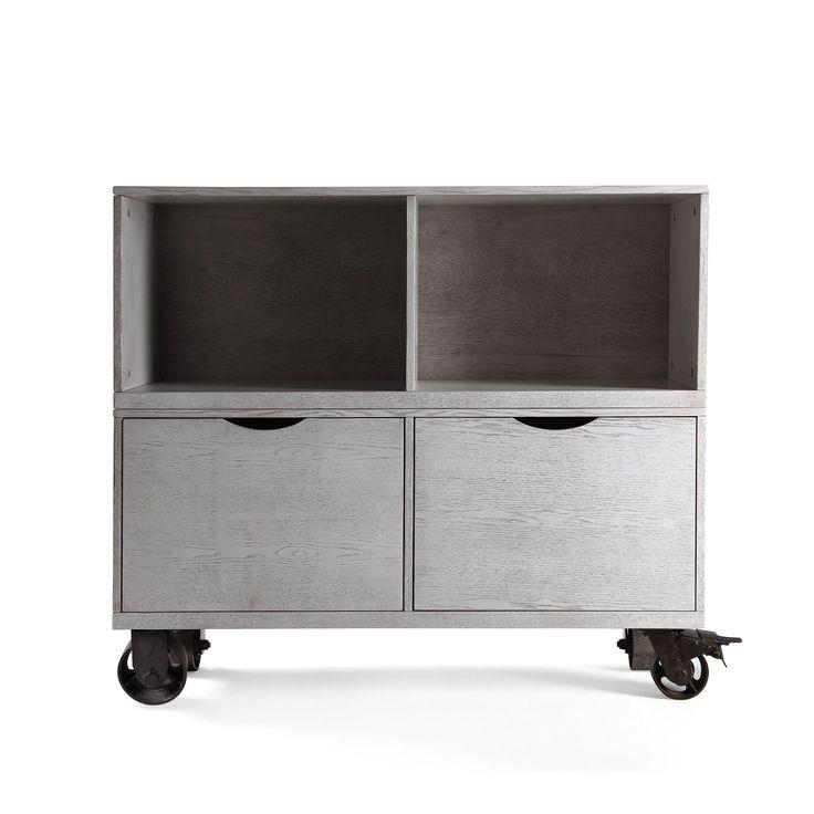 Hives and Honey Washington Grey MDF/Wood Double Storage Unit (Smoke Grey)