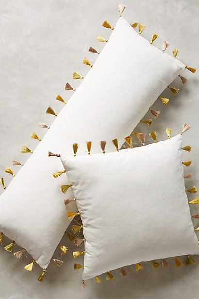 Firenze Velvet Tassel Pillow #anthropologie Love the tassels in different colors  -- maybe girl's name or initial on it
