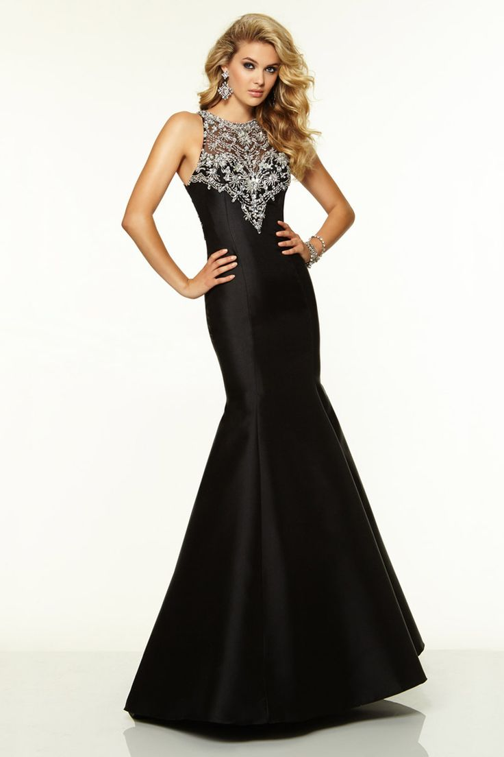 2015 Scoop Beaded Satin&Tulle Prom Dress Mermaid/Trumpet Black USD 159.99 BPPYYQYZK6 - BrandPromDresses.com
