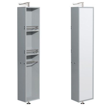 Wyndham Collection Amare Linen Tower & 360 Degree Rotating Floor Cabinet with Full-Length Mirror in Dove Gray, Beige