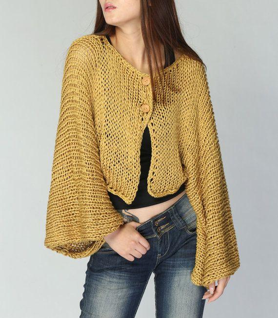 Mustard Yellow Kimono sleeve shrug/ little cardigan by MaxMelody