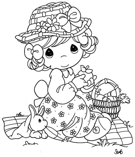 Girl celebrating Easter coloring page | precious moments ...