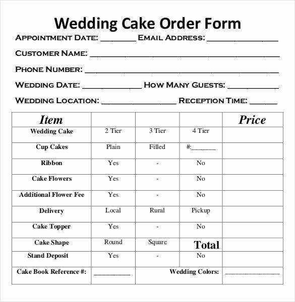 Cake Order Forms Templates In 2020 Wedding Cake Order Form