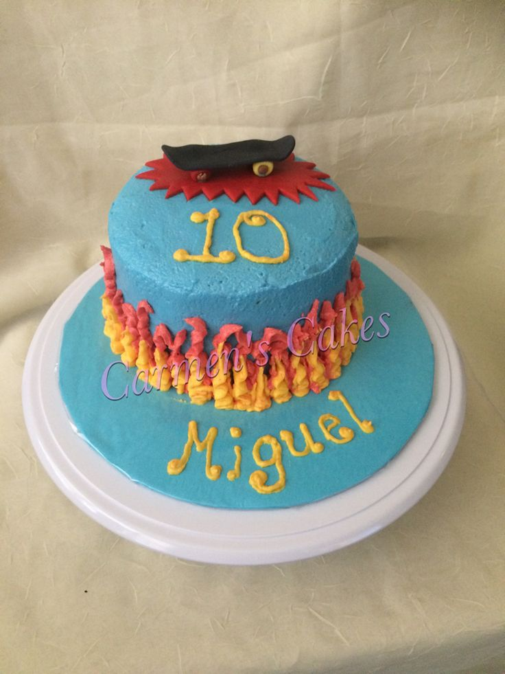 Skateboard Theme Cake With Buttercream Flames On The Side