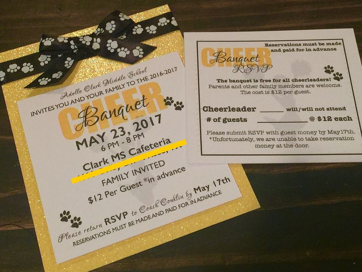 Cheer Banquet invitations and RSVPs.