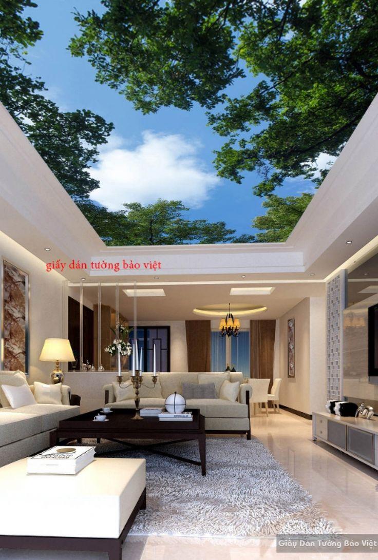 Giấy dán tường phòng khách dán trần nhà 3D C026 | Giấy dán tường Bảo Việt
