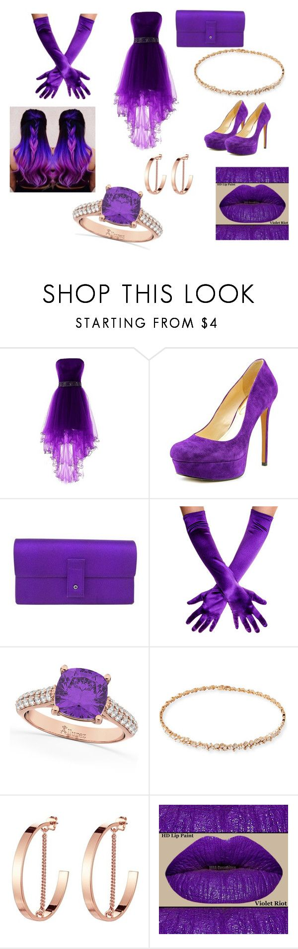 """""""Fearless Violet"""" by outfit-creator ❤ liked on Polyvore featuring Jessica Simpson, Gucci, Allurez, Suzanne Kalan, Jenny Bird and NuMe"""