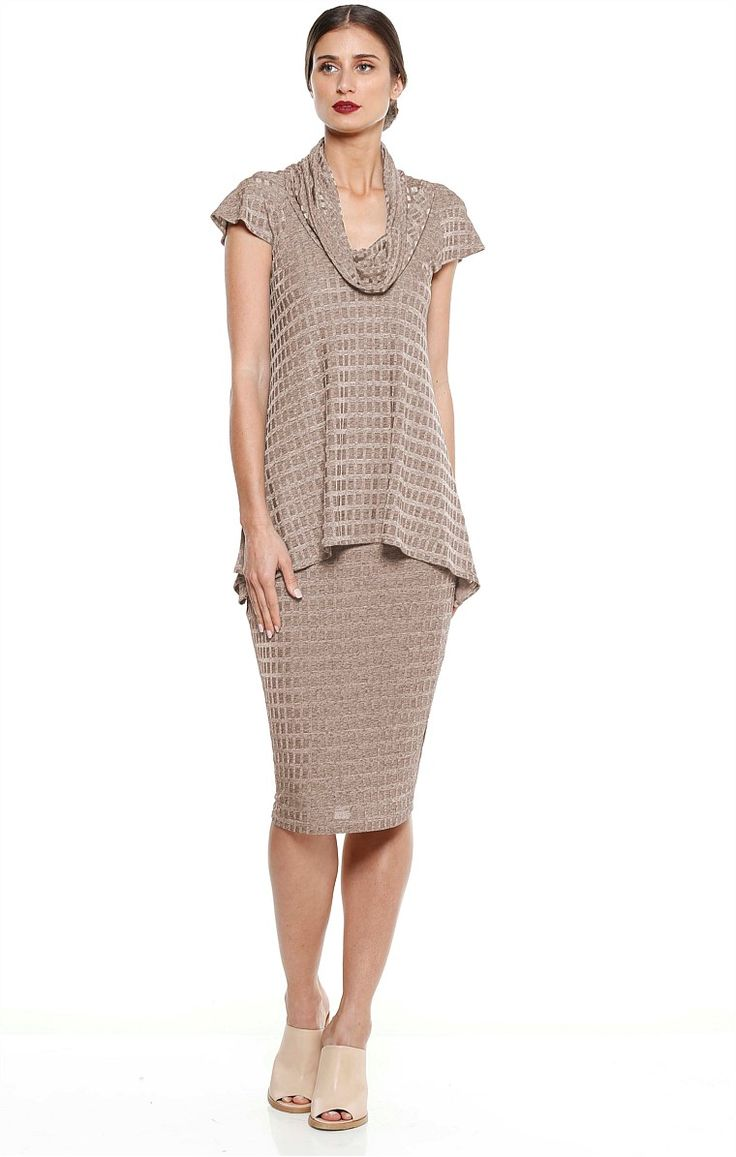 SABIA JERSEY COWL NECK TOP AND SKIRT TWO PIECE SET IN TAUPE MARLE