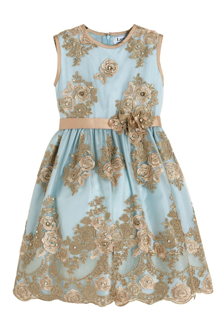 Luxury dress in precious embroidered tulle with crystals