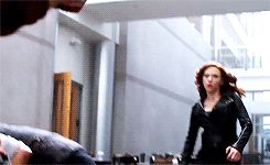 Black Widow punching The Winter Soldier in the nuts - as much as I love Bucky, I laugh every time lol sorry, Boo