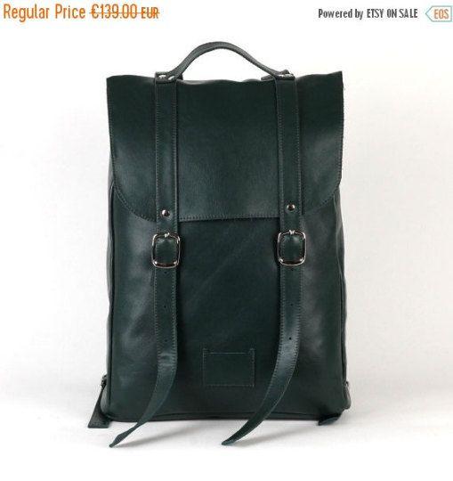 SALE / Emerald green middle size leather backpack rucksack / genuine leather minimalist backpackrucksackkokosinasimple backpackknapsackback to school leather rucksack women woman girls gift