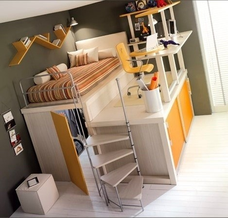 Bunk bed, hide out, and a desk platform.  How cute!