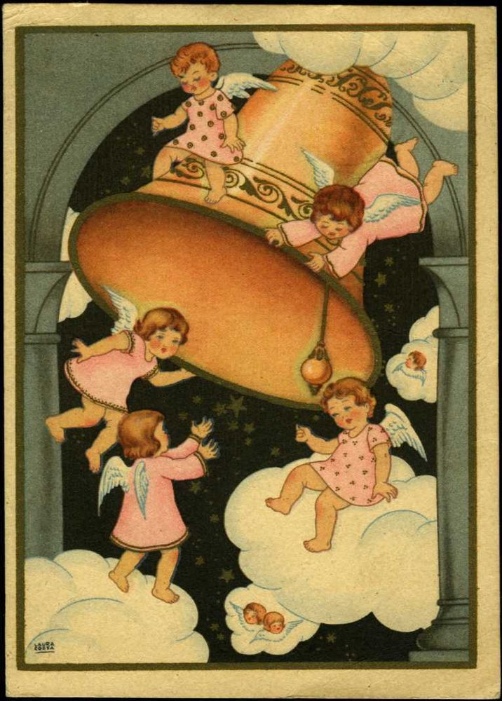PORTUGAL 1944/45 ANGELS BELL CHRISTMAS GREETINGS STATIONERY POSTCARD