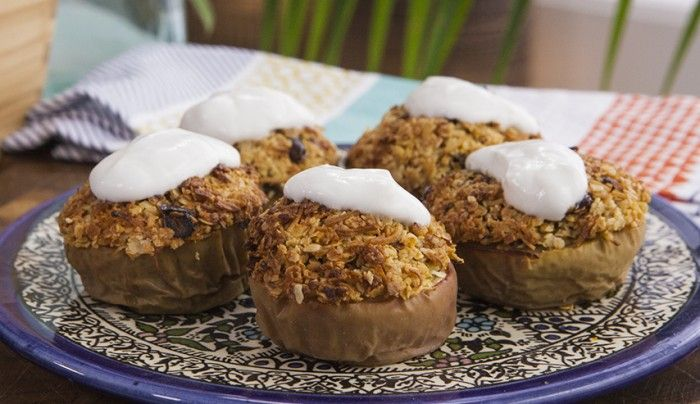 Mini Apple and Coconut Crumbles with Yoghurt