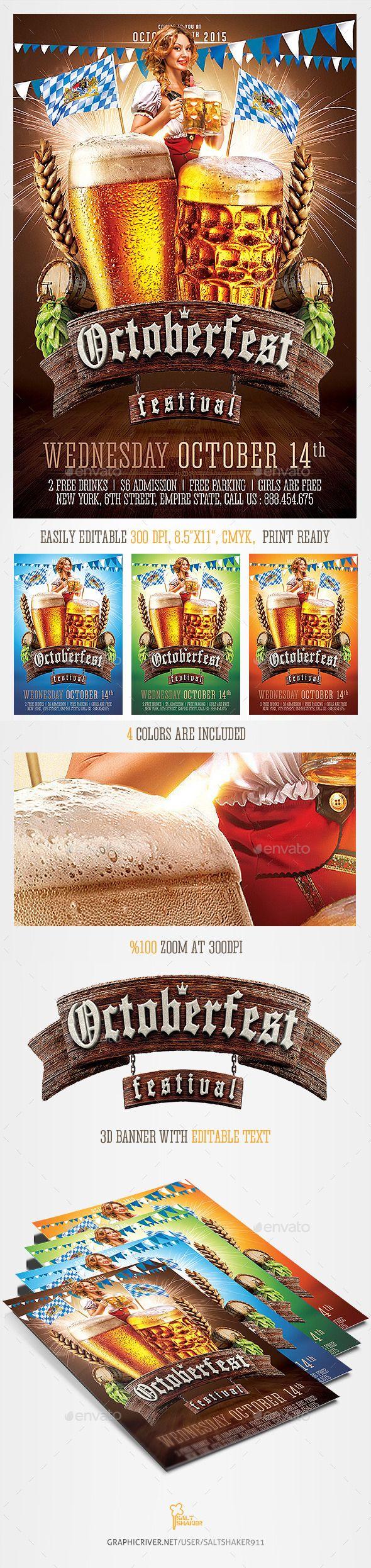 Oktoberfest Beer Festival Flyer Template #design Download: http://graphicriver.net/item/oktoberfest-beer-festival-flyer-template/12678145?ref=ksioks