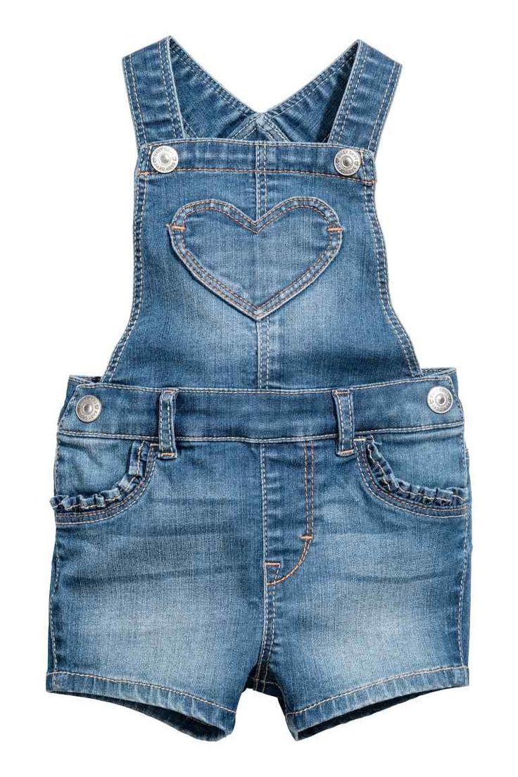 Denim dungaree shorts - Denim blue - Kids | H&M GB 1