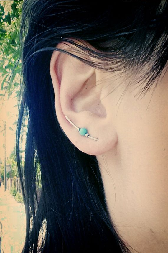 Delicate single ear climber with turquoise and by LotkaArt on Etsy