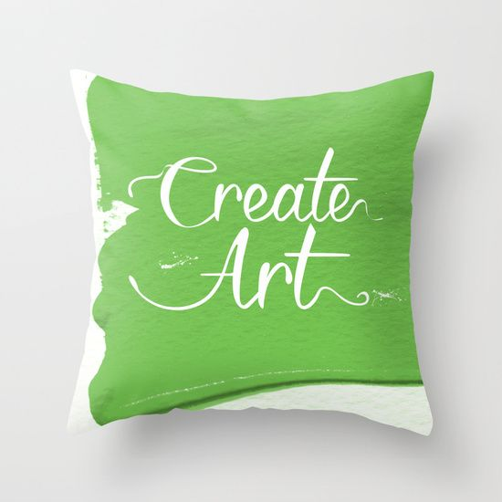 Create art typography on painted green background.