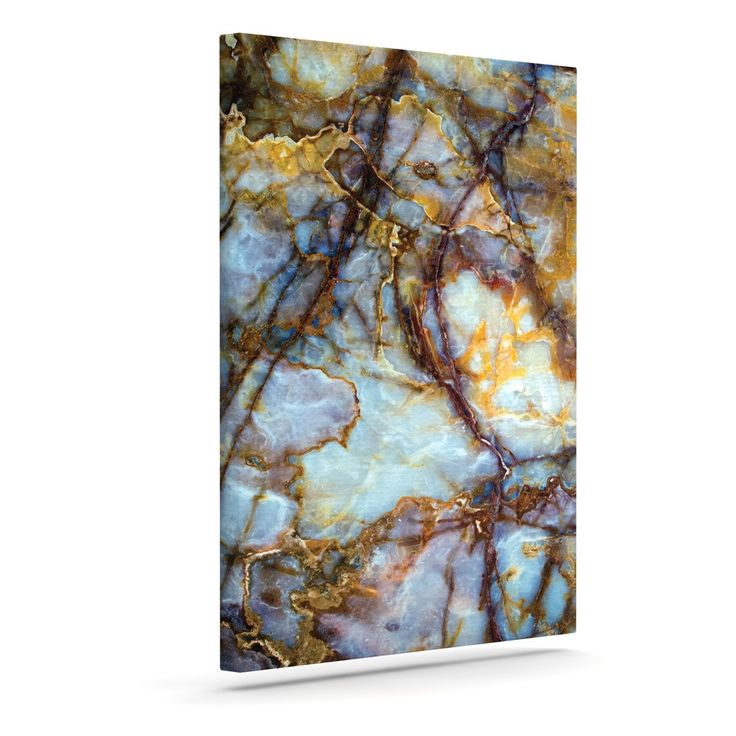 "KESS Original ""Opalized Marble"" Blue Brown Canvas Art"