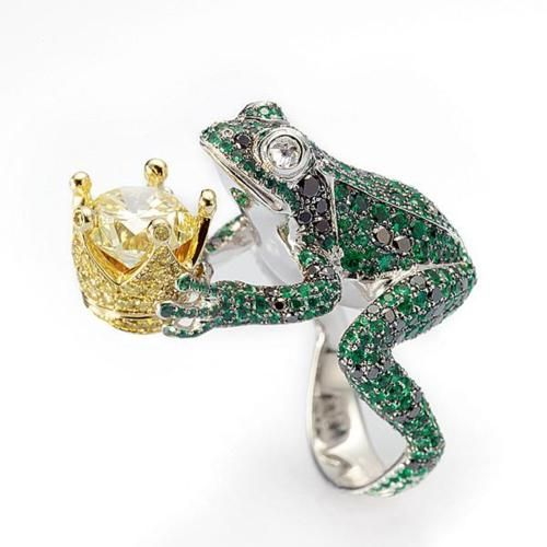 "ryantee82:  From Chopard's Animal World Collection. ""The Frog with Crown ring is both an amusing nod to fairy tales and a very detailed figure. Mounted on a ring of white gold, a frog of emeralds and black diamonds seems ready to jump out and offer up its tiny crown of yellow gold set with brilliants, amongst which is a yellow diamond."""