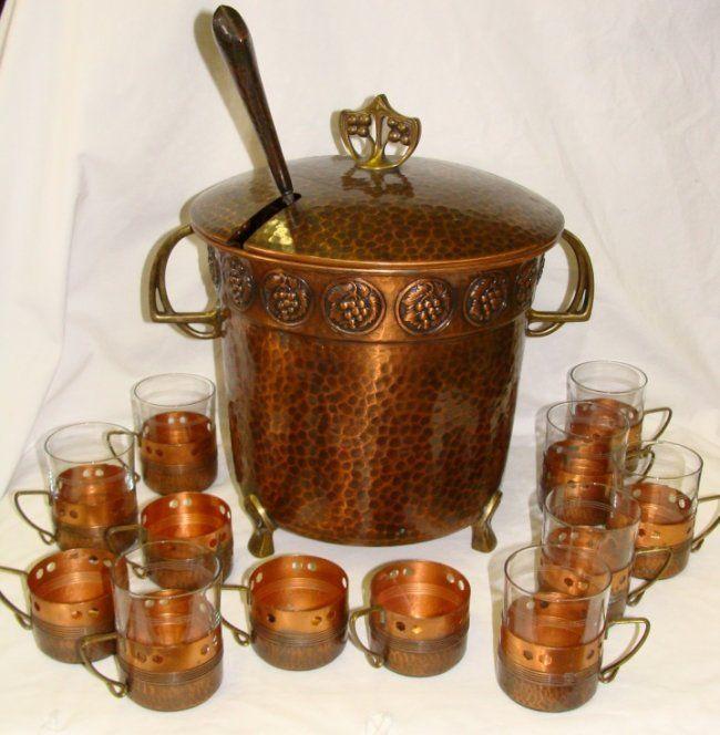 WMF Arts Craft Hammered Copper Punch Bowl Set