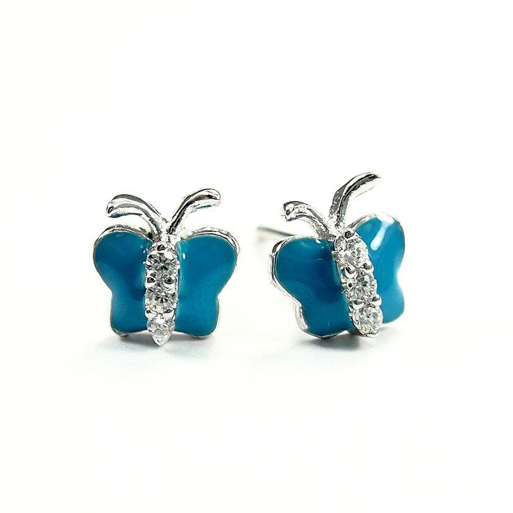 Kolczyki dla dzieci niebieskie motylki z cyrkoniami - http://www.bizutik.pl/kolczyki-dla-dzieci-niebieskie-motylki-z-cyrkoniami