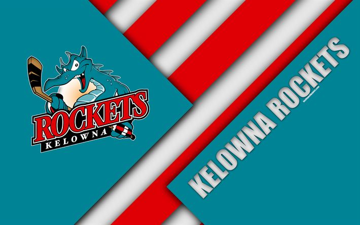 Download wallpapers Kelowna Rockets, WHL, 4K, Canadian Hockey Club, material design, logo, blue red abstraction, Kelowna, British Columbia, Canada, Western Hockey League