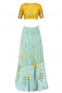 Mustard Yellow Floral Embroidered Crop Top and Aqua Blue Skirt Set #kanishkajaipur #shopnow #ppus #happyshopping