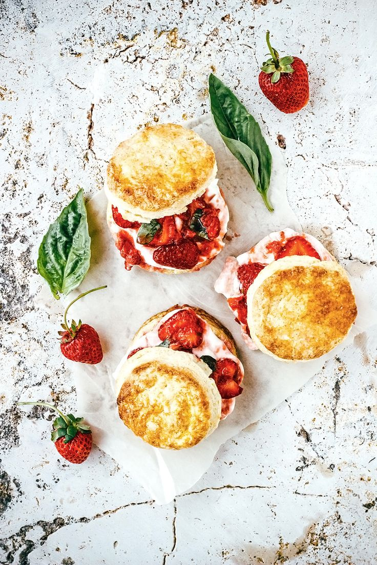 Strawberry, Lime and Basil Shortcakes. #yum #food #recipes #splendideats