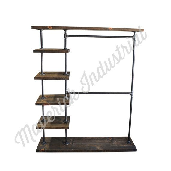 $585.00 Industrial Double Bar Clothing Rack - Entry Way Rack - Hall Tree - Garment Rack - Clothes Rack