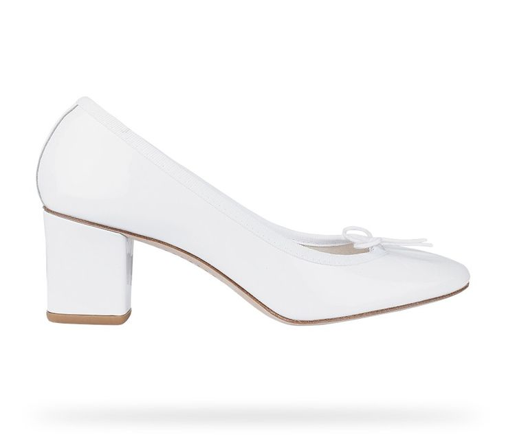 Ballerina Paname (Low Cut Pump) White Patent Leather by Repetto. #Repetto #Wedding #WeddingShoes #White #Blanc